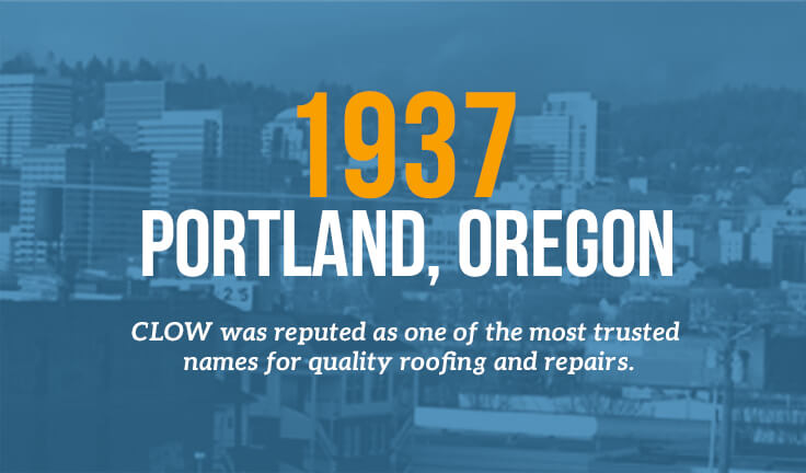 Portland, Oregon 1937 - Clow was reputed as one of the most trusted names for quiality roofing and repairs.